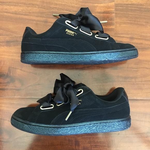 official photos 29463 a3c1a Puma Seude Heart Satin Black Sneakers Size 8